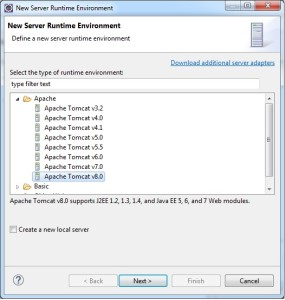 Eclipse New Server Runtime